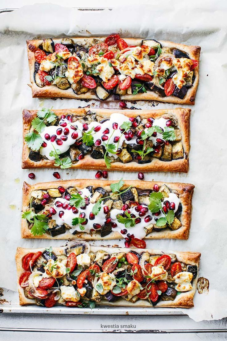 roasted eggplant tarts with chili and tahini yogurt