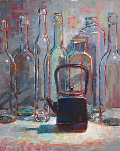 """Square Teapot with Bottles"" - Original Fine Art for Sale - © Raymond Logan"
