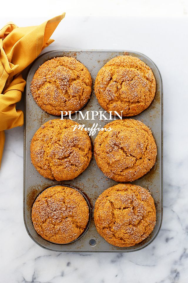 Yum!   This is an older recipe from the Diethood Archives, now updated with fresh content and photos. Original post/recipe published on Oct 5, 2011. Pumpkin Muffins – Packed with pumpkin and topped wi