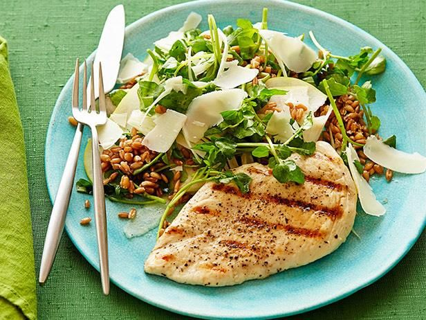 Grilled Chicken with Spelt, Pear and Watercress Salad #myplate #letsmove #protein #veggies #grains #fruitFood Network, Chicken Recipe, Foodnetwork Com, Network Kitchens, Healthy Eating, Salad Recipe, Healthy Yummy, Grilled Chicken, Watercress Salad