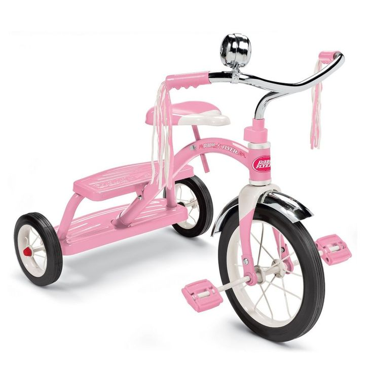 Radio Flyer Pink Tricycle Girls Toy Age 2-5 Kids Ride Bell 12'' Front Wheel New