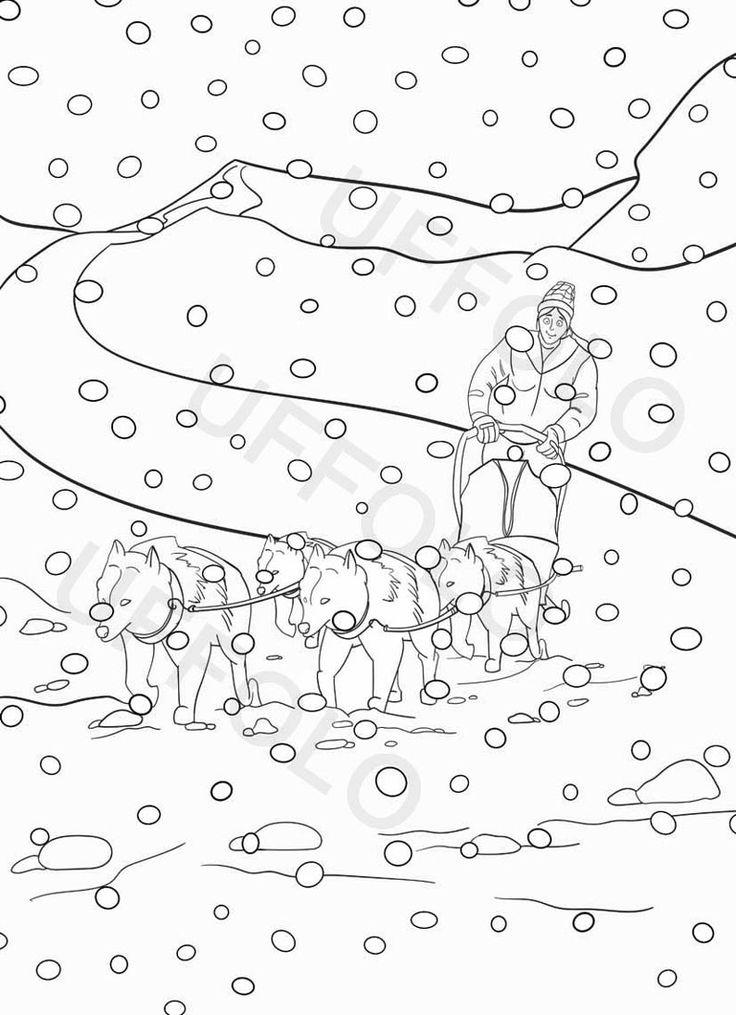 disegni da colorare cani da slitta