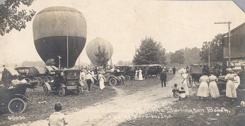 The Balloon Ascension at Burlington Beach Resort, Flint Lake, circa 1910 - Valparaiso, Indiana.