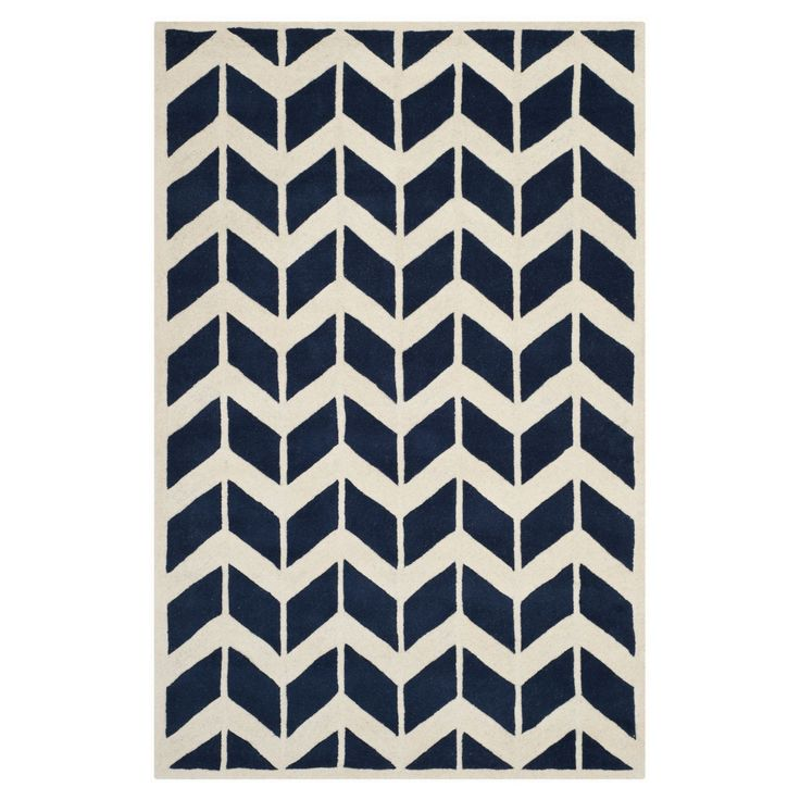 Teppich Brenna - Dunkelblau/Creme - Maße: 182 x 274 cm, Safavieh