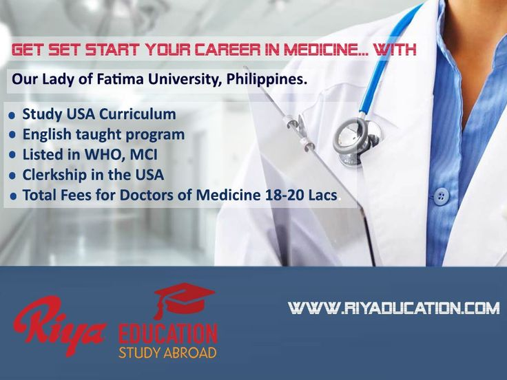 Get Set Start your career in Medicine with Our Lady of Fatima University, Philippines. For details get in touch with Riya Education.
