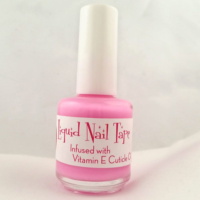 Liquid nail tape specially designed for use in messy nail art applications. The liquid nail tape comes in a 15ml round polish bottle with a brush for precise application. It is a light pink color that dries into a lovely dark pink shade. It also contains Vitamin E cuticle oil to sooth and treat your cuticles during drying time.  Directions for Use: Apply to cuticle area and around fingers where messy polish or paint may land outside the area of your nails.