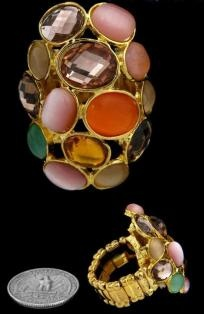 $8 GOLD MULTI COLOR STRETCH RING