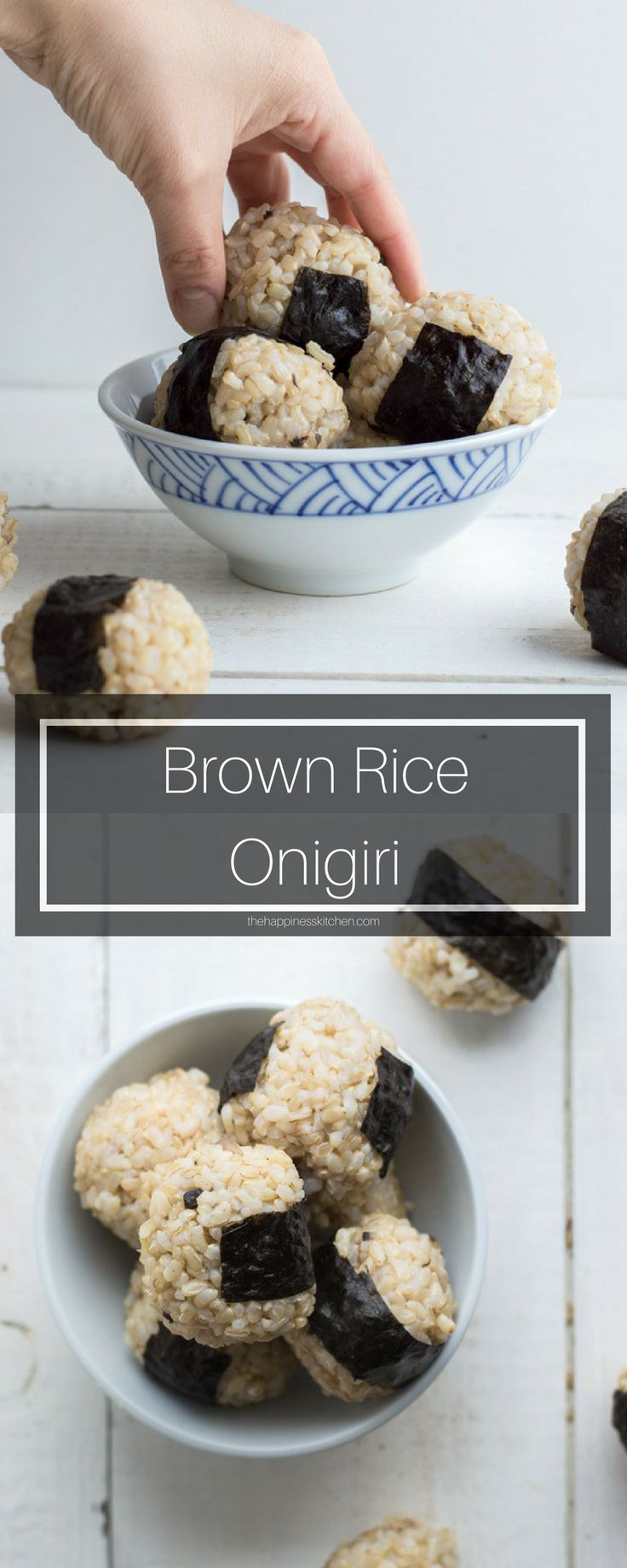 Brown rice onigiri is a great, little healthy snack. It's filled with a flavourful garlic-ginger mushroom filling.
