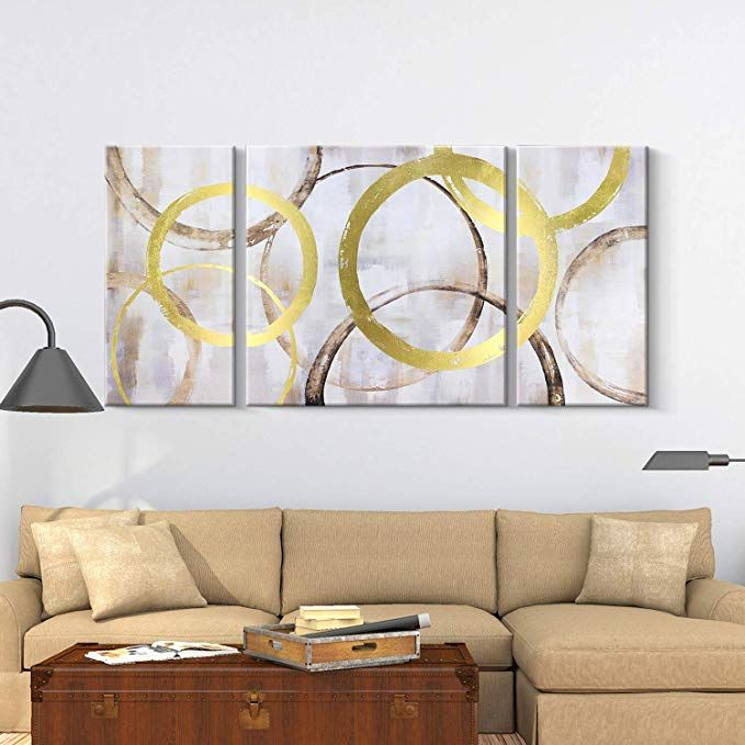 Amazon Com Pi Art Contemporary Abstract Wall Art Set Canvas Print Painting With Gold Foil Interlaced Ci Circle Painting Contemporary Wall Decor Big Wall Decor Amazon paintings for living room