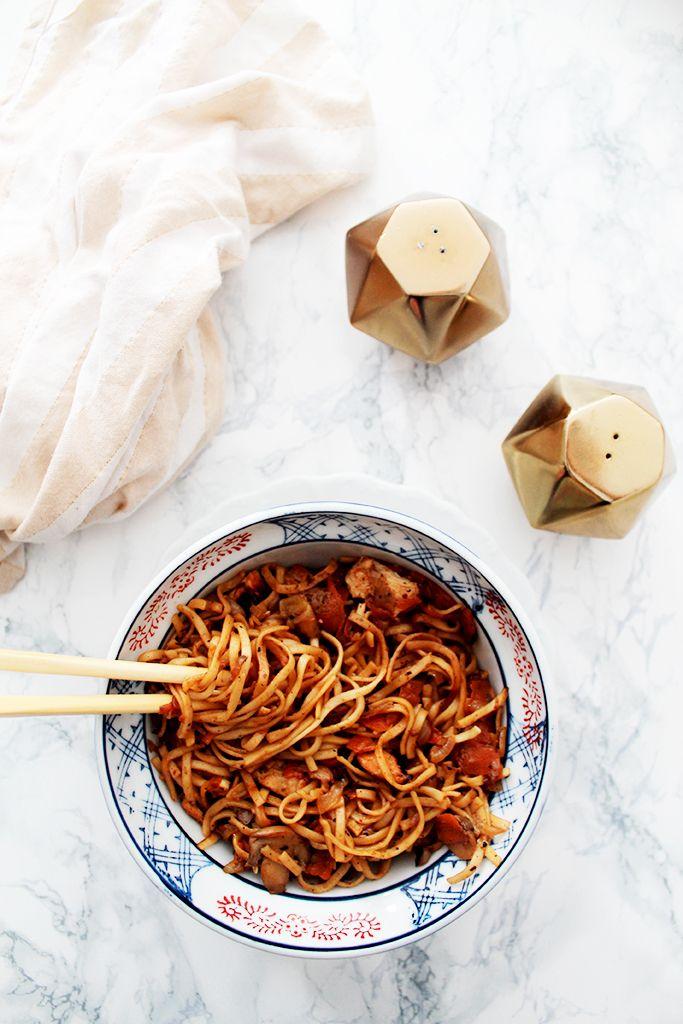 nouilles chinoises aux legumes et poulet au miel 2