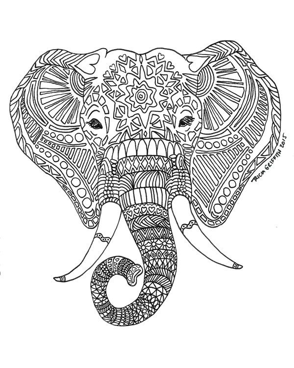 printable zen critters sun elephant coloring page coloring for adults by triciagriffitharts on
