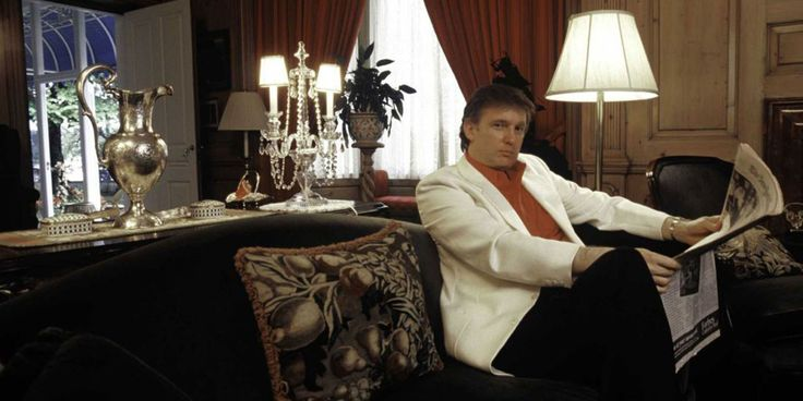 Donald Trump, real estate mogul, entrepreneur, and billionare, relaxes at his home on August 1987 in Greenwich, Connecticut.