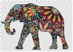 Rainbow Elephant -Retro, Colorful, Pixel Subversive Bohemian Vintage Cross Stitch Pattern - Instant Download by SnarkyArtCompany on Etsy