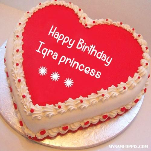 Write Name On Heart Look Birthday Cake Iqra Princess