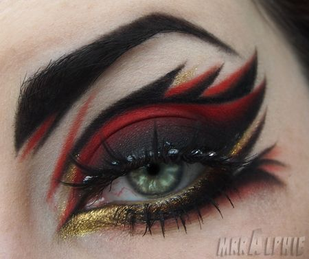 red, black, and gold eyes