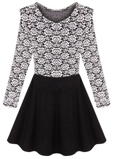 Black Long Sleeve Contrast Lace Pleated Dress US$26.07