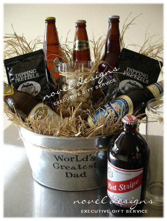 Beer Gift Basket... Mug full of shelled peanuts, pretzels, assorted flavor beer and bottle opener.  Customize for any occasion!