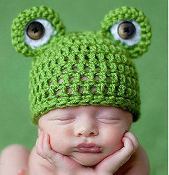 Newborn Baby Boy Crochet Prince Frog Hat Beanie by dreammadestudio, $7.50