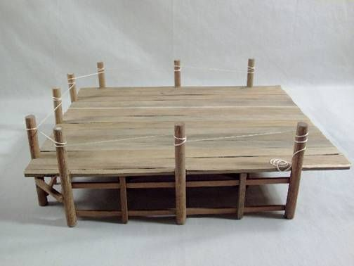 Miniature Dollhouse Pier Tutorial ideal for nautical scenes or adapted to use as a house deck