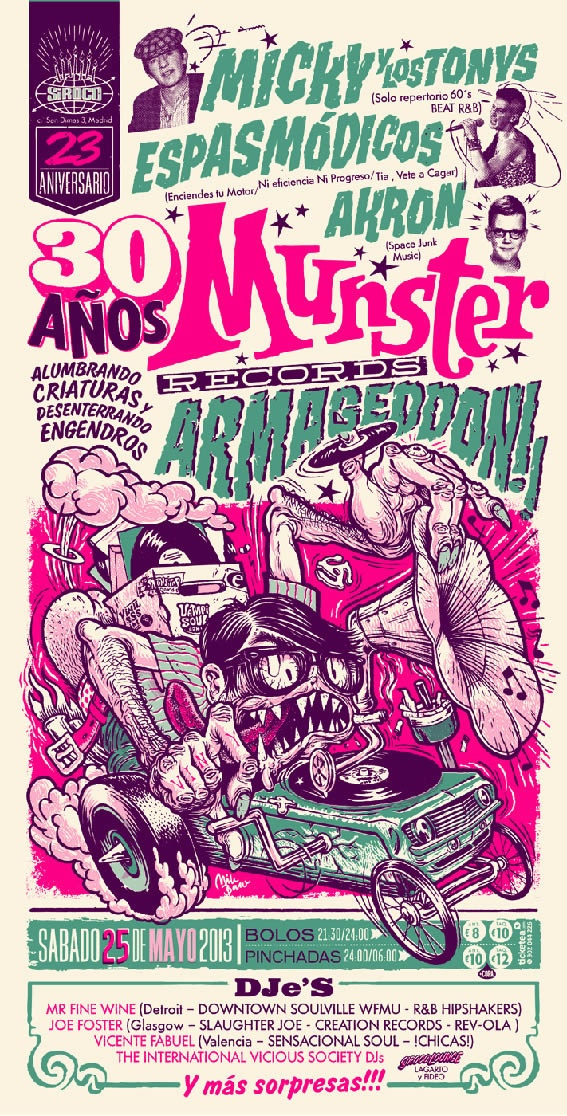 25 aniversario munster records posters fly pinterest affiches. Black Bedroom Furniture Sets. Home Design Ideas