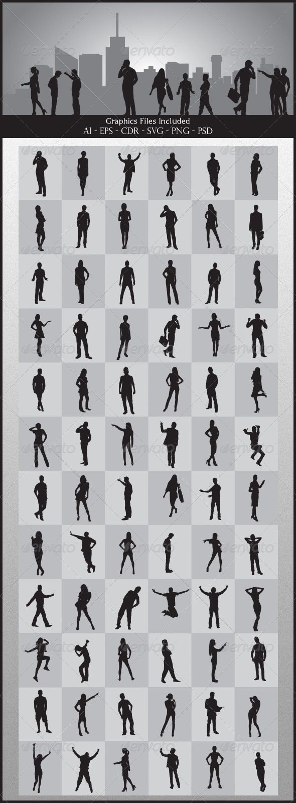 People Silhouettes  #GraphicRiver         Nice People Silhouettes vector. In this files include AI and EPS versions.
