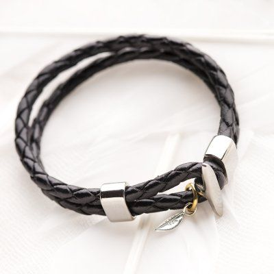 Black leather bracelet #1080 > RRP $AUD39.60   PALAS Jewellery