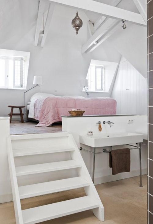 Great idea for a room with high ceilings. You could even have storage drawers in the bottom part! Would be neat with unfinished reclaimed floorboards.