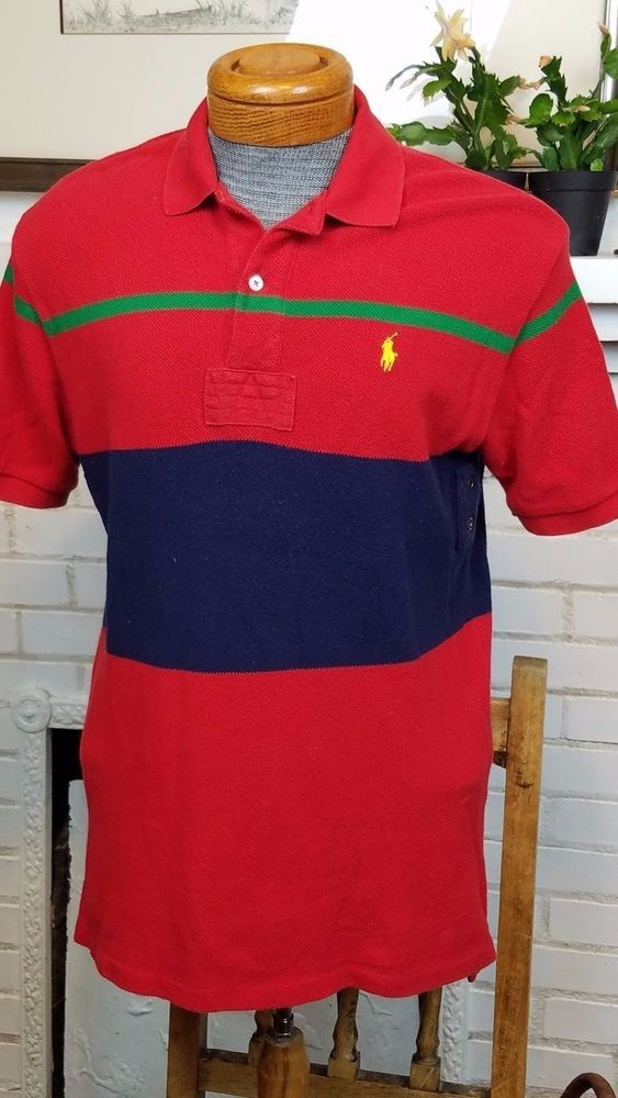 Men's Polo Ralph Lauren Vintage Knit Red/Green Short Sleeve Shirt Sz Medium | Clothing, Shoes & Accessories, Men's Clothing, Casual Shirts | eBay!