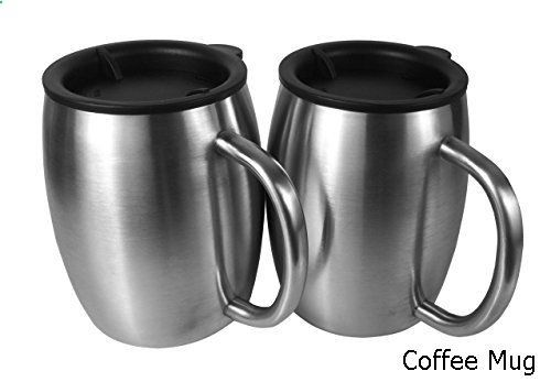 Coffee Mug - Stainless Steel Coffee Mugs with Lids - 14 Oz Double Walled Insulated Coffee Beer Mugs - Set of 2 by Avito - Best Value - BPA Free Healthy Choice - Shatterproof and Spill Resistant