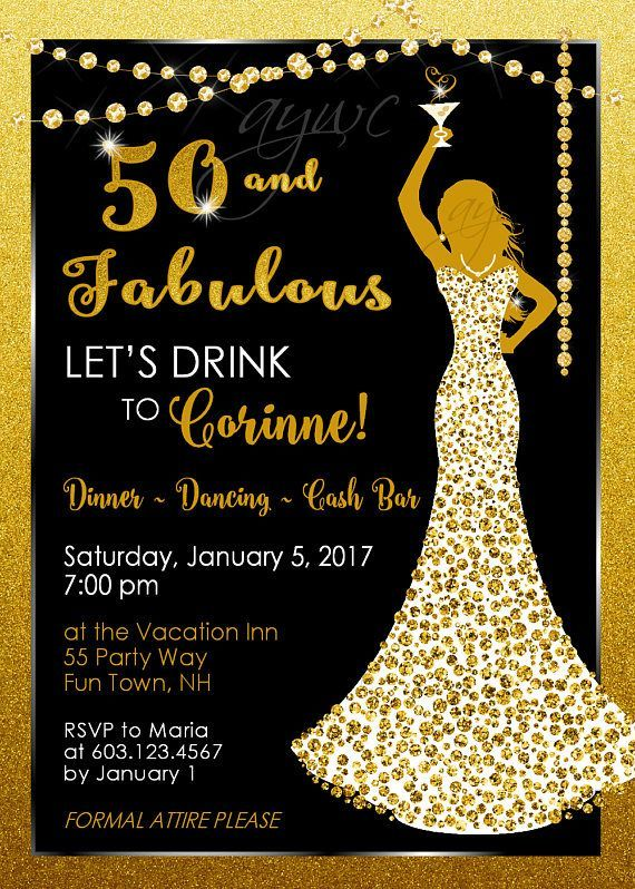 50th birthday party invitations woman bling dress 40th womans most