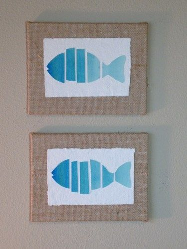 #Fish, #Abstract #Watercolor Painting of Fish Mounted on 8x6 Burlap Board @sunberrycreations