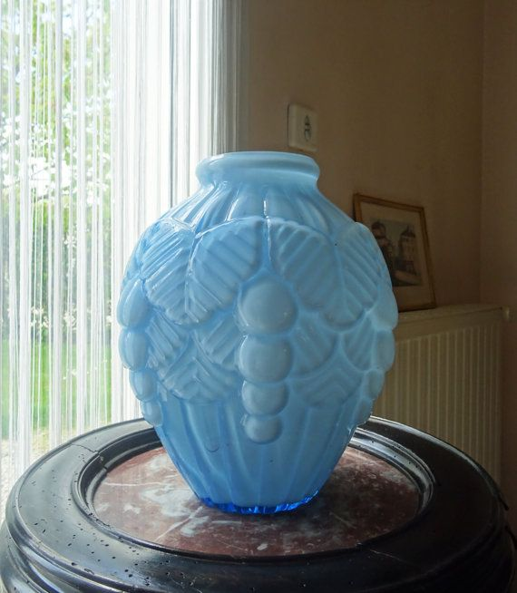 French antique vase Art Deco Opal sky blue 1930 s/illuminati10