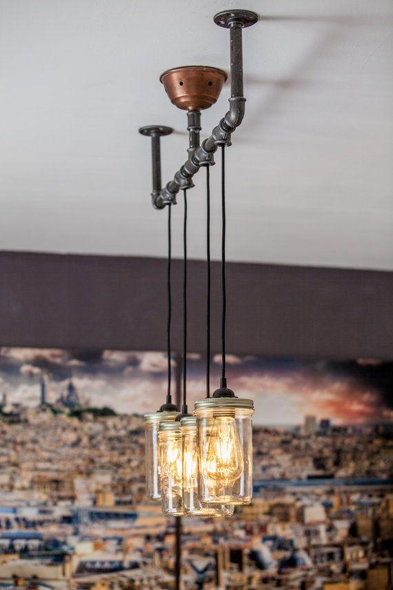 Les 25 meilleures id es concernant lustre de pot sur for Lampe pot de confiture