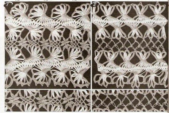 TRICO y CROCHET-madona-mía: Horquilla motivos de encajes como tejerlos (grafícos)