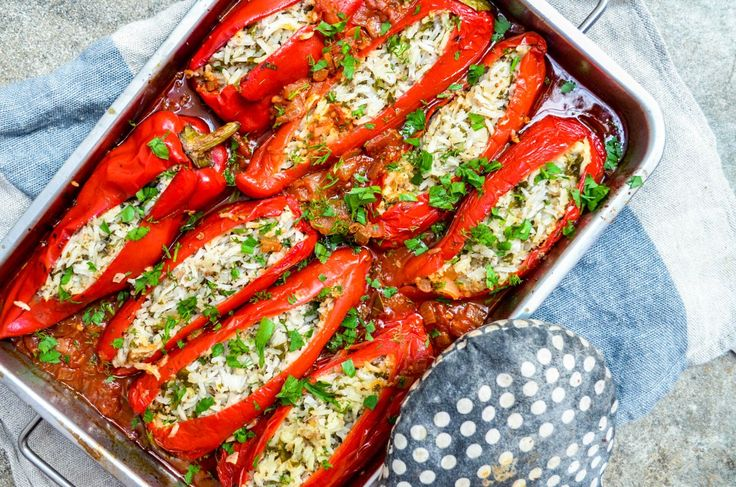 - Stuffed Sweet Peppers,- with rice, beef mince and feta cheese