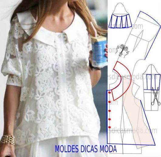 MOLDE DE BLUSA -46 - Moldes Moda por Medida