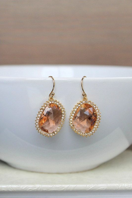 Peach crystal earrings champagne earrings by BatelBoutiqueBridal