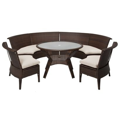 Threshold Rolston 5 Piece Wicker Sectional Patio Dining