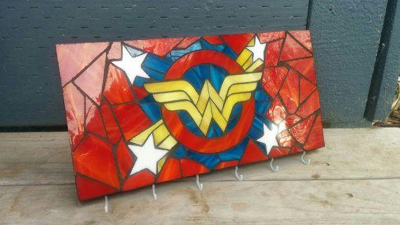 Wonder Woman Glass Mosaic Key Hook Rack by WildnineStudios on Etsy