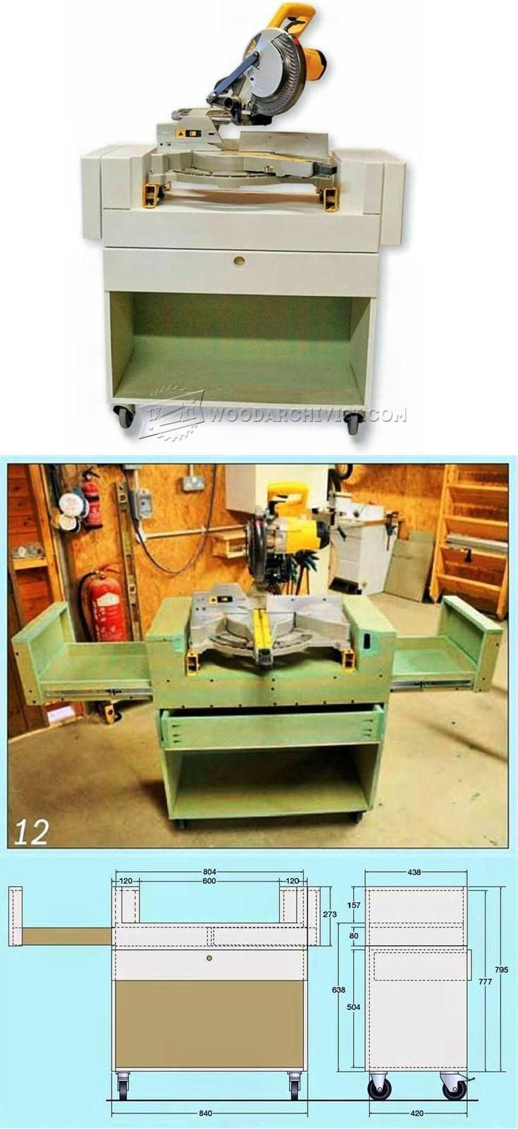 Mobile Miter Saw Stand Plans - Miter Saw Tips, Jigs and Fixtures | WoodArchivist.com #mitersaw