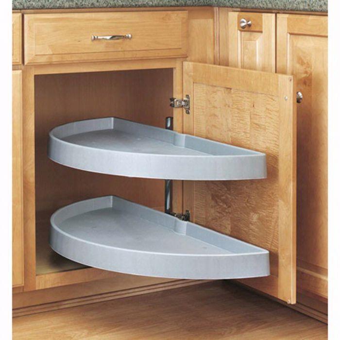 Half Moon 2 Shelf Blind Corner Lazy Susans Rev A Shelf 6842 Series 33 Diameter Rockler Woodworki Corner Kitchen Cabinet Kitchen Blinds New Kitchen Cabinets