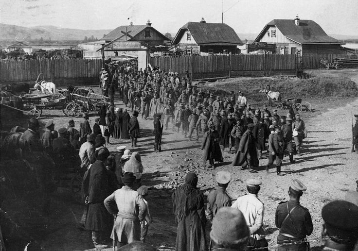 Galicia, 1914. Austro-Hungarian prisoners of war are marched into captivity by the Russians after their defeat in Poland.