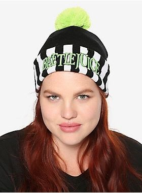 663f8a47375 The ghost with the most    Beetlejuice Stripe Pom-Watchman Beanie