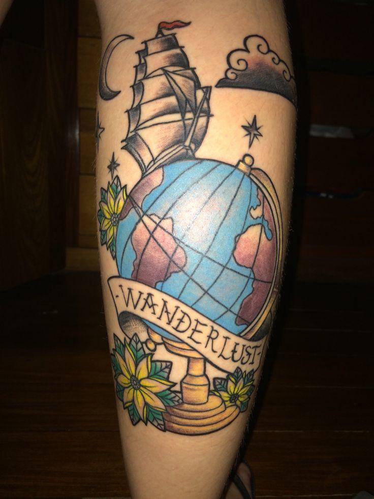 Tattoo Wanderlust Globo Caravela Old School Colorida