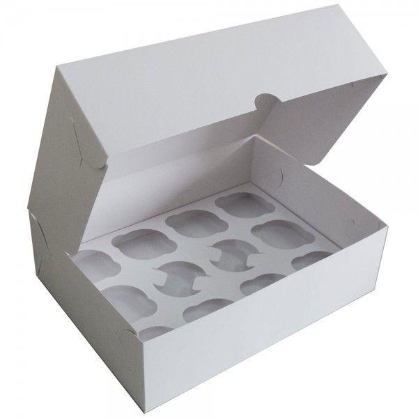 Коробка для кексов без окна белая, 12 ячеек
