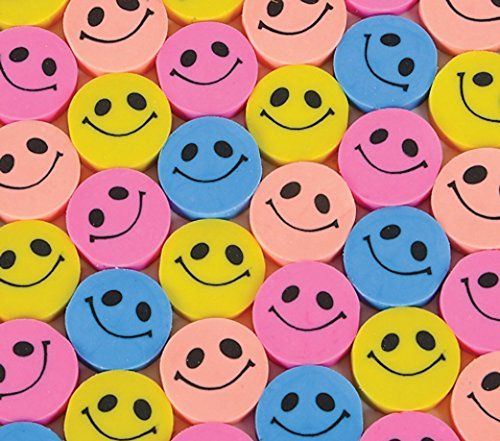 Pack of 24 - Mini Colour Round Smiley Face Erasers
