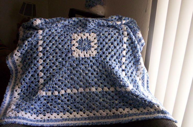 Granny Square Baby Boy's Blanket.