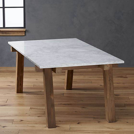 Parsons White Top Dark Steel Base 48x28 Dining Table Marble top