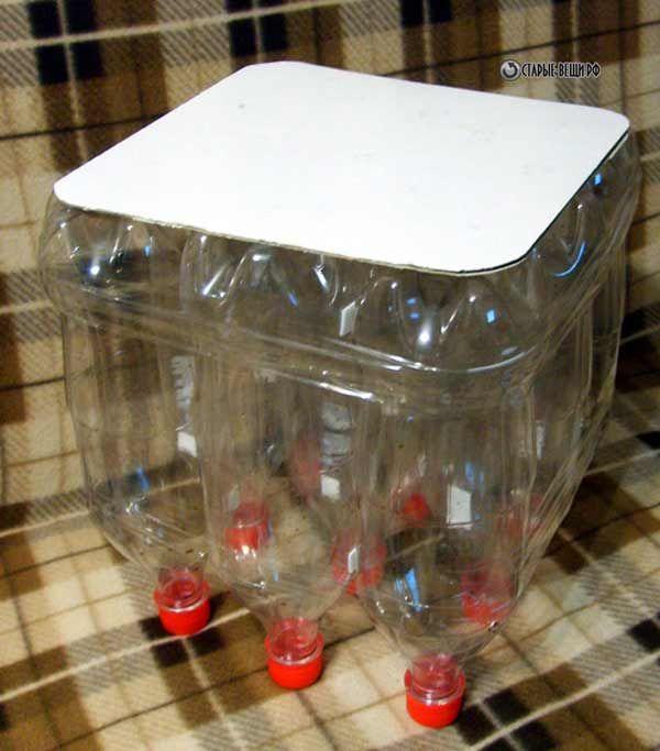 Пуфик для дачи своими руками из пластиковых бутылок. Портал о ...