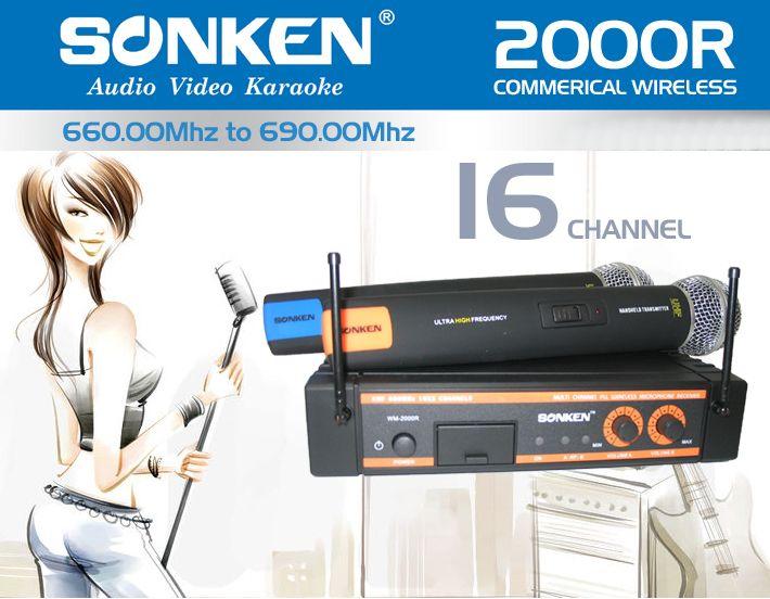 Sonken 2000R Wireless - 16 Channels (8 per mic) with hard carry case.
